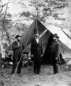 President Abraham Lincoln, in 1862 during the Civil War. Standing between his body guard and General John A. McClernand.  We have diametrically opposed ideas to Lincoln's, today in America.