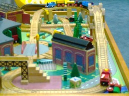 This Thomas the Tank Engine wooden train layout is one of the attractions that small children can play with at the club site.