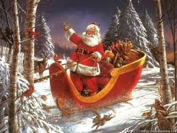 A BEAUTIFUL PIECE OF ARTWORK OF SANTA IN HIS SLEIGH. OH HOW I WISH I COULD WORK FOR SANTA--FOR JUST ONE DAY.