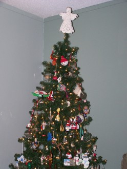Note the hand-crocheted angel (from my mom) on the top of the tree.