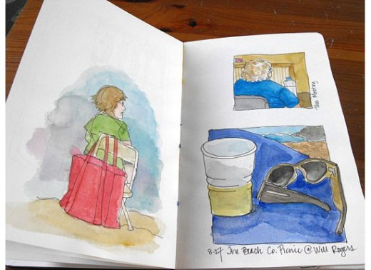 This was a set of drawings I did at my company picnic at the beach.  I didn't have water for my watercolors, so I used beer instead.  : )  I don't know who the people are in the drawings.  I like to draw anything and everything.