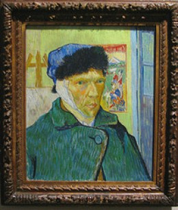 Van Gough self-portrait with bandaged ear from mike_smith's_flickr Source: flickr.com