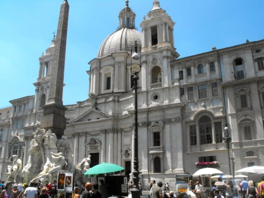 This is the very prestigious Piazza Navona where I bought some artwork, from a Scottish lady no less, married to an Italian, a wonderful artist, I bought one of an ancient coliseum and one of Venice.  It is gorgeous here, the architecture Baroque.