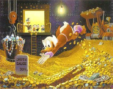SScrooge McDuck Swimming in his Money Pool