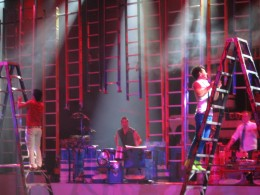 Using ladders as percussion instruments.