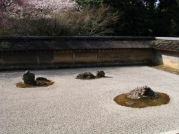 Dry garden at the Zen Ryoan-ji.