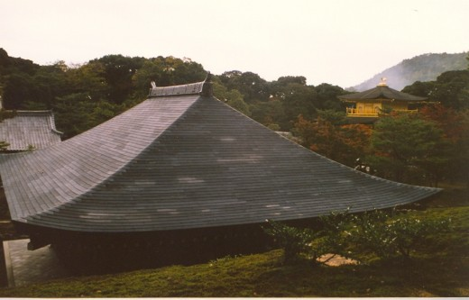 Kinkaku-ji roofs and gardens.