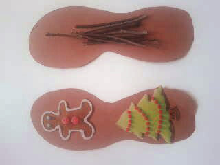 Trace and cut shoes. Add goodies to one and twigs on the other!