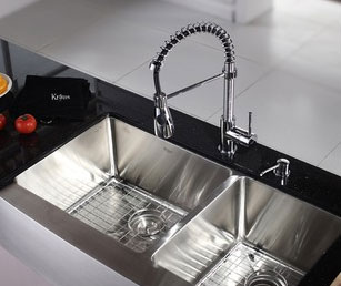 A new kitchen sink is an inexpensive way to make a kitchen look elegant.