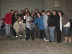 Our In His Shoes group along with some of our homeless brothers and sisters on the streets of Los Angeles' Skid Row area