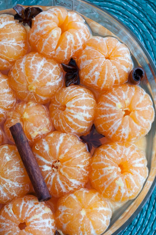 Clementines in wine-cinnamon-star anise.