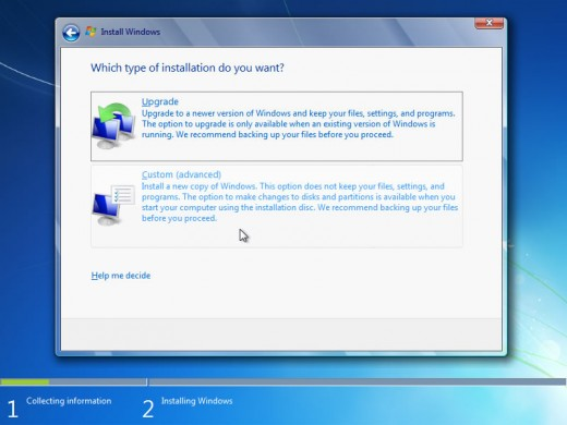 Selecting whether upgradation or custom installation
