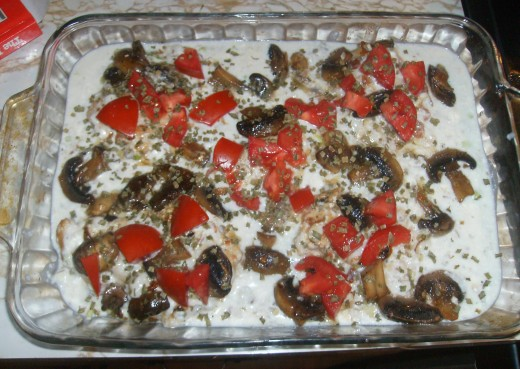 This is before I put dish into the oven. I used regular tomatoes this time since I didn't have grape or cherry tomatoes on hand. While the flavor was good, the small tomatoes have an even better flavor.