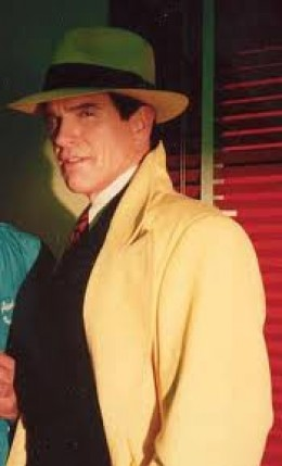 Warren Beatty , as Dick Tracy, wears hat and coat outfit worn by the Gay Senator!  Color change -- dark gray instead of yellow.