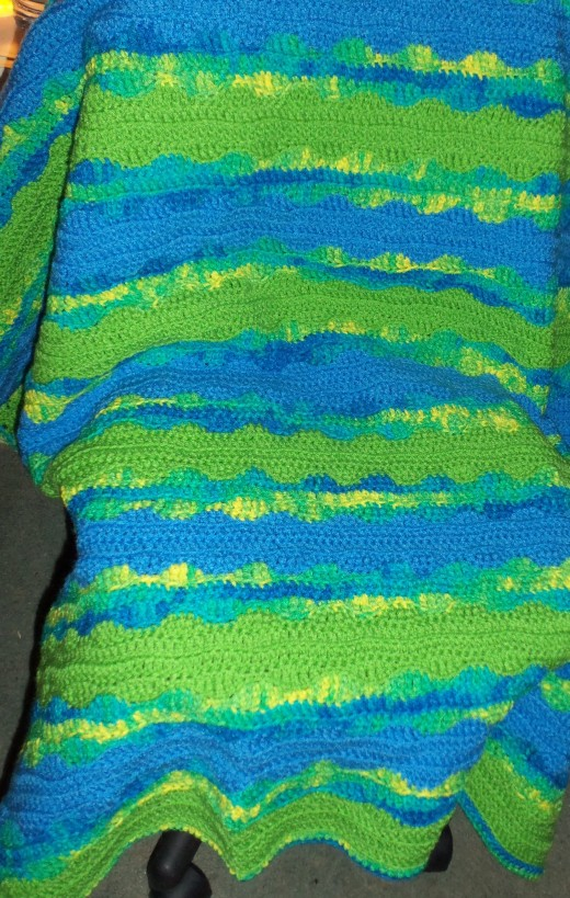 The completed blanket resembles the waves of an ocean.