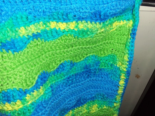 This picture shows the pattern and the edging I did.