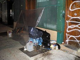 A homeless person's shelter.