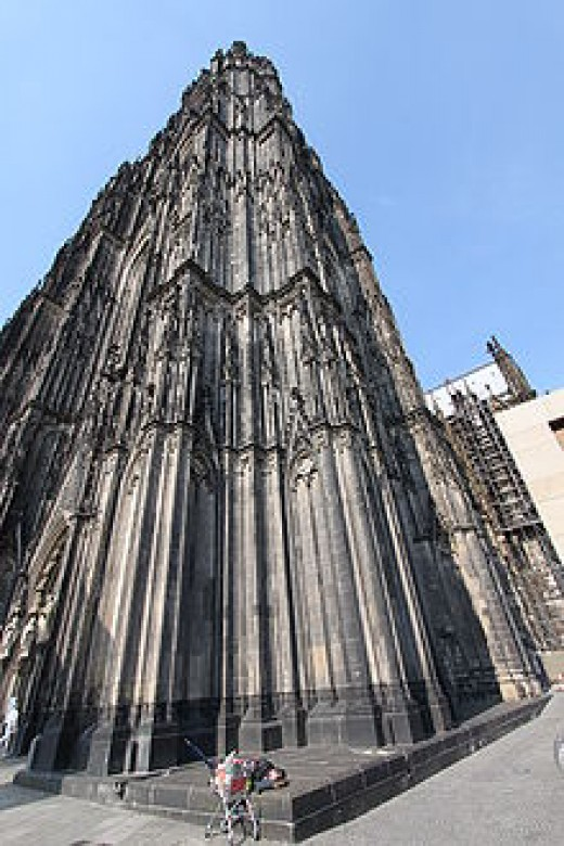 homeless persons near Cologne Cathedral in Germany.