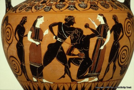 First Photo:  Ancient Greek depiction of a centaur. Second Photo: Greek urn depicting Perseus slaying a Minotaur.
