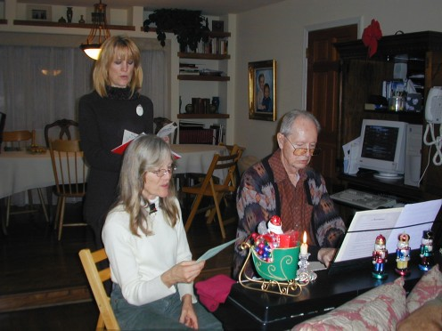Caroling at home - Practicing until others join us.