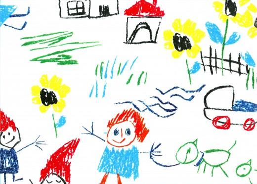 A child's colorful drawing