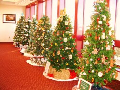 Milford Library holiday fundraiser trees.