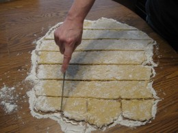 Cut into 3 inch squares.