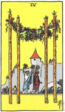 The 4 of Wands sometimes indicates a wedding.