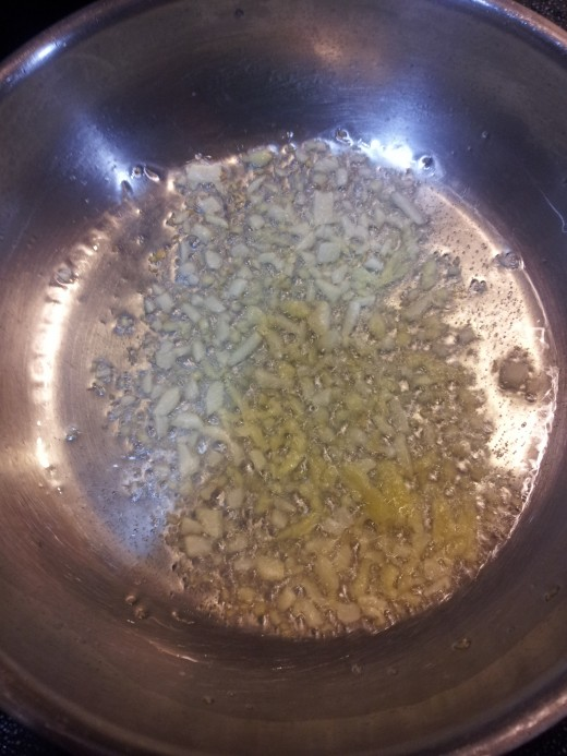 sauteing the garlic and ginger