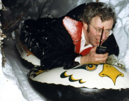 Steve calling in the play-by-play on his way down his homemade luge run