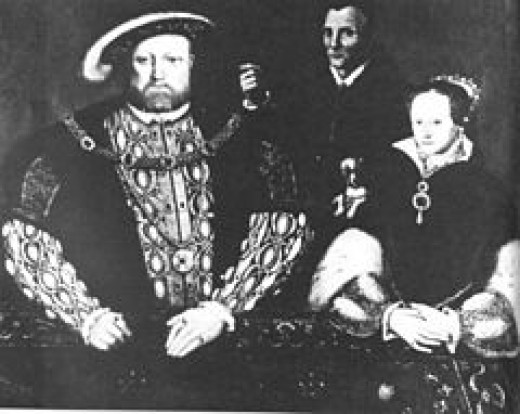 A 16th century portrait of the King, Princess Mary and the court fool