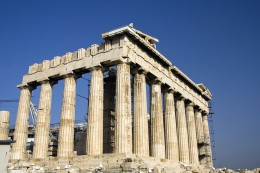 Parthenon in Greece and blue sky