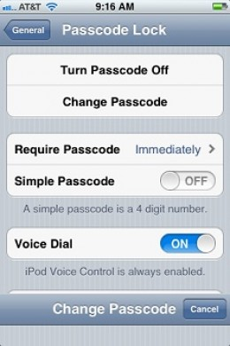 """Tap the """"ON/OFF"""" toggle to the right of Simple Passcode."""
