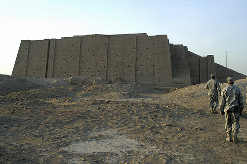 Ancient Ur is now in modern Iraq. I have found many very recent pictures of this ziggurat with U.S. soldiers, but it was originally built for astronomical research and moon worship.