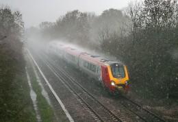 Train in the rain...