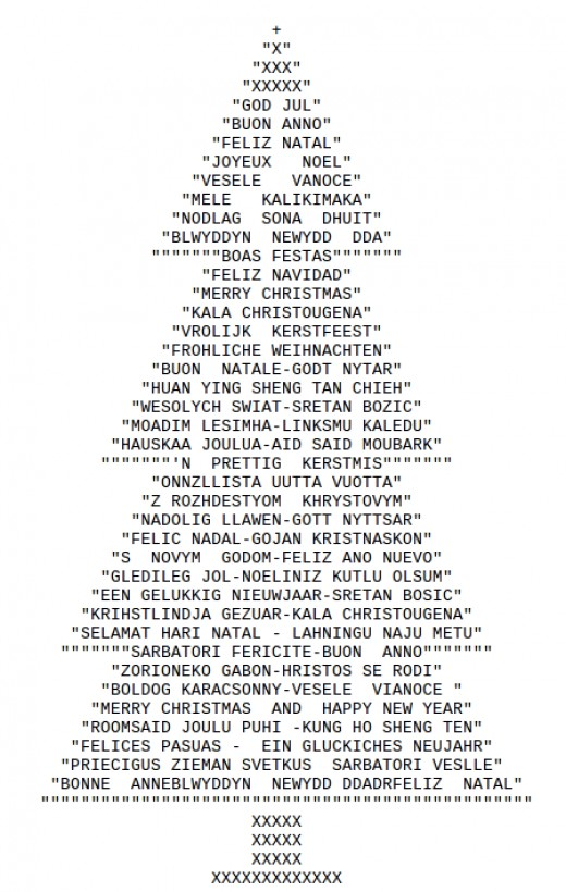 christmas trees in ascii text art