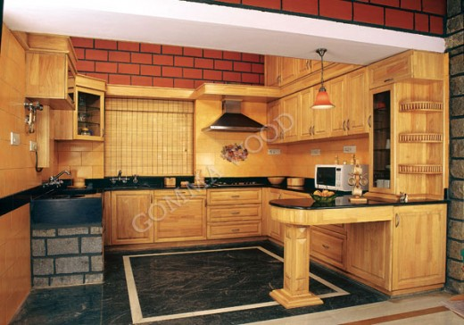 Kerala Kitchen cabinets made of rubberwood