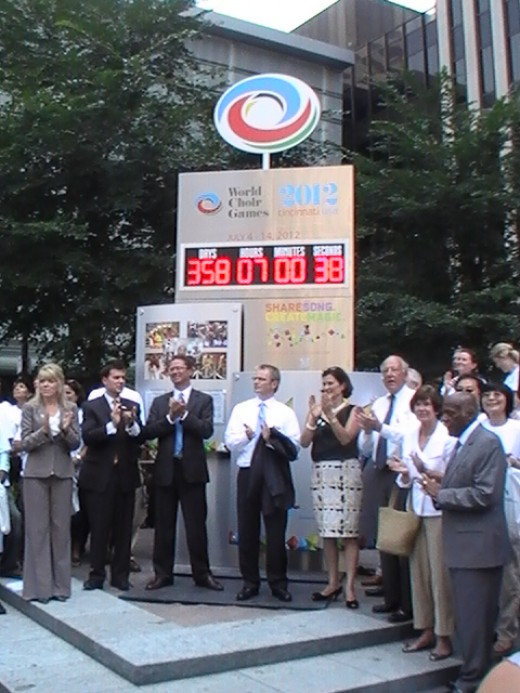 On Fountain Square in Downtown Cincinnati a digital clock counts down to the July 4 2012 event