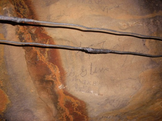 Old graffiti at The Ohio Caverns