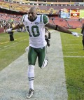 "Santonio ""ToneTime"" Holmes runs off the field at the end of the game (AP Photo/Nick Wass)"