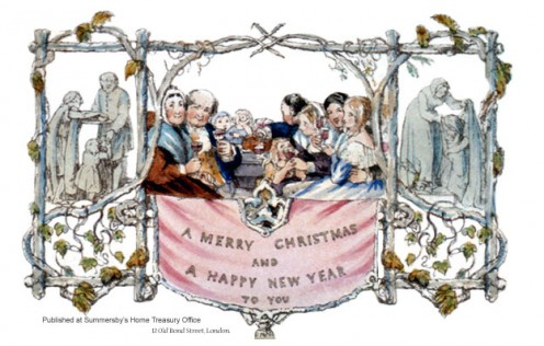 The idea of the First Christmas card (see above) is accredited to Sir Henry Cole in 1843.  This image is in the public domain because its copyright has expired.