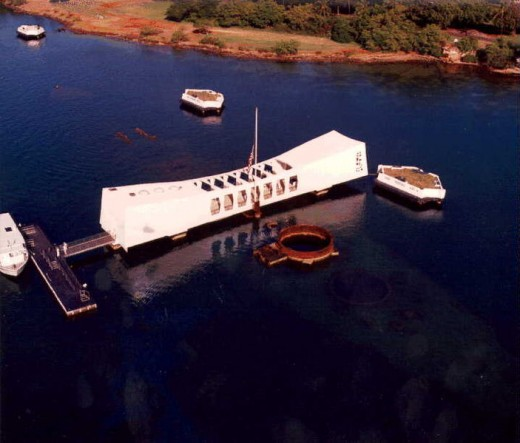 Overhead view of the Memorial with Ford Island in the background. Stations where other ships were docked on 12/7/1941 are maintained in memorial as well.