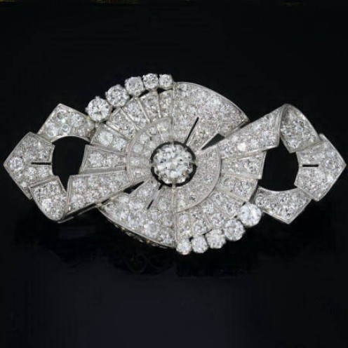 Gorgeous platinum Art Deco brooch from Adin Vintage Jewellery