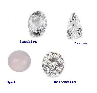 Diamond Substitutes - White Sapphire, Zirconium, white Opal and Moissanite