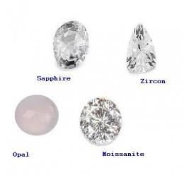 Diamond Substitutes - White Sapphire, Zirconium, white Opal and Moissanite