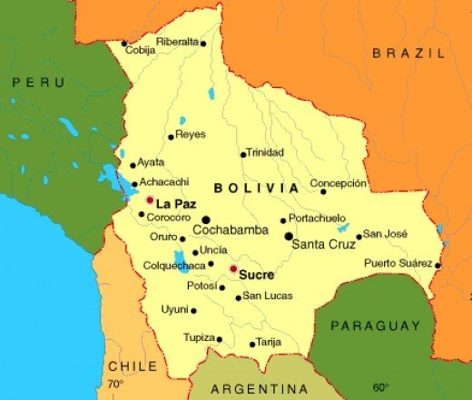 Bolivia in South America,between Brazil and Arjentina
