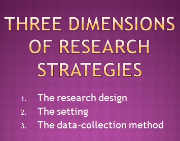 Three dimensions of research strategies