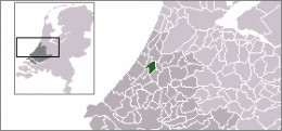 Map location of Leiden, South Holland, The Netherlands