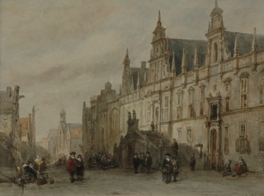 View of Leiden City Hall, by Carel Jacobus Behr (1812-1895)