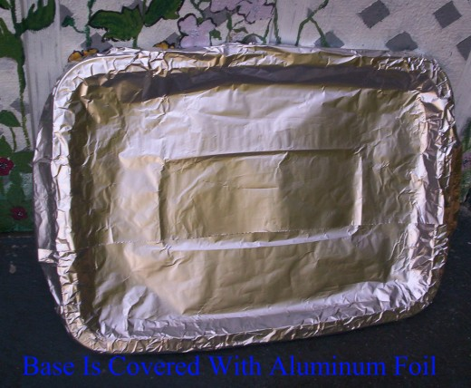 The base is covered in Aluminum Foil for the Gingerbread House.